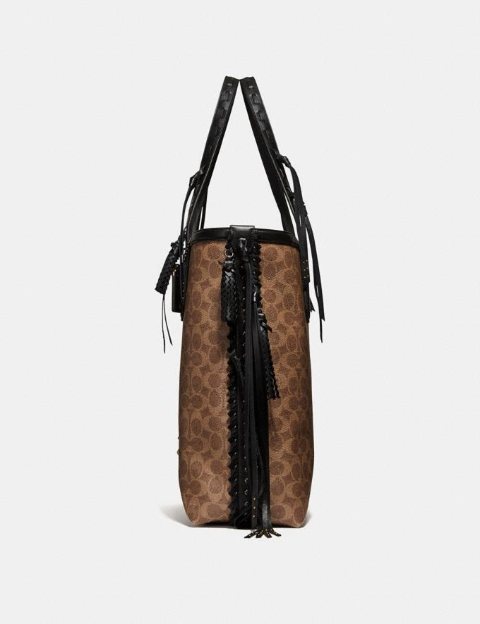 Coach Tote 34 in Signature Canvas With Tattoo Tan Black/Black Copper New Featured Online-Only Alternate View 1