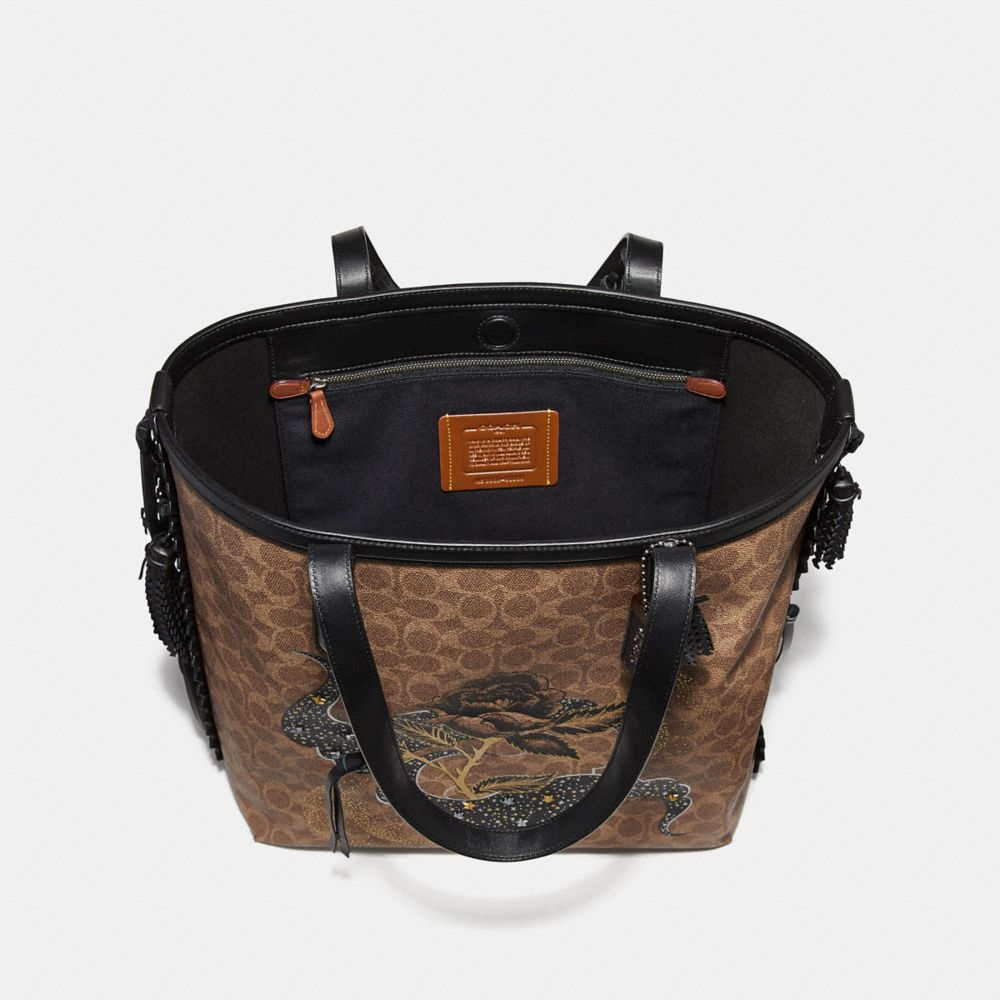 Coach Tote 34 in Signature Canvas With Tattoo Alternate View 2