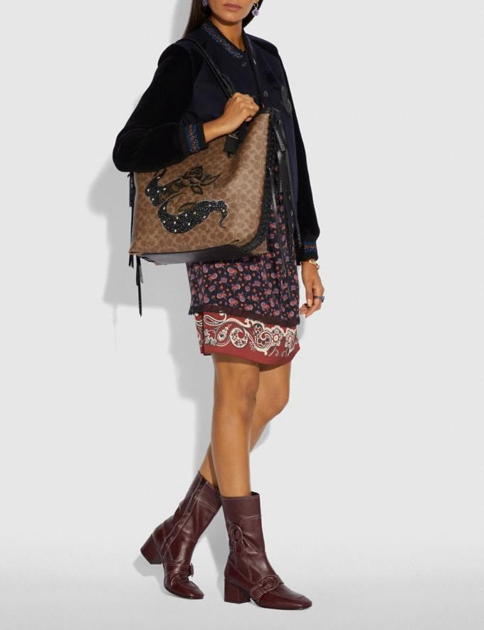 Coach Tote 34 in Signature Canvas With Tattoo Tan Black/Black Copper New Featured Online-Only Alternate View 3