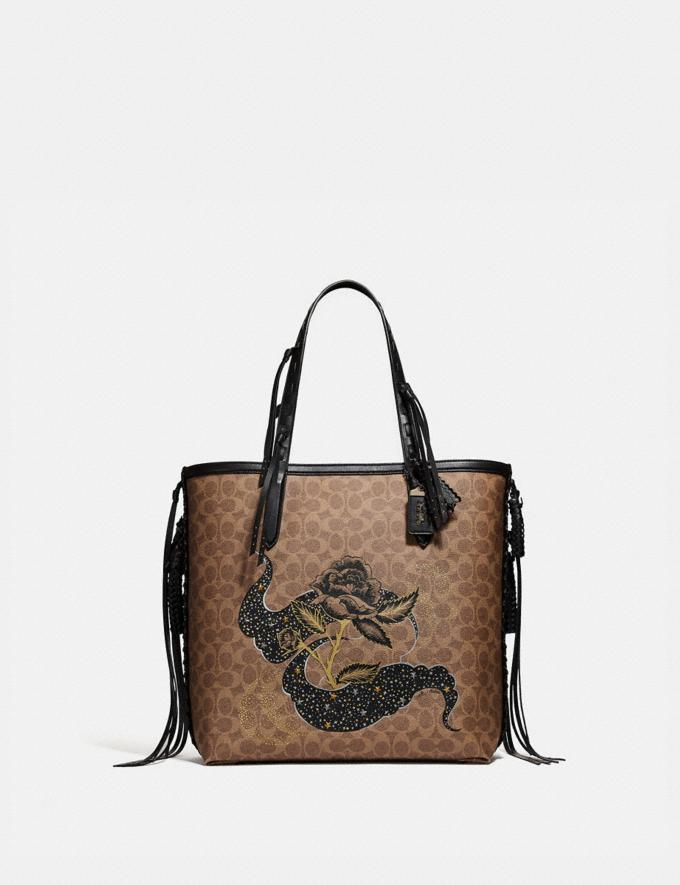 Coach Tote 34 in Signature Canvas With Tattoo Tan Black/Black Copper New Featured Online-Only