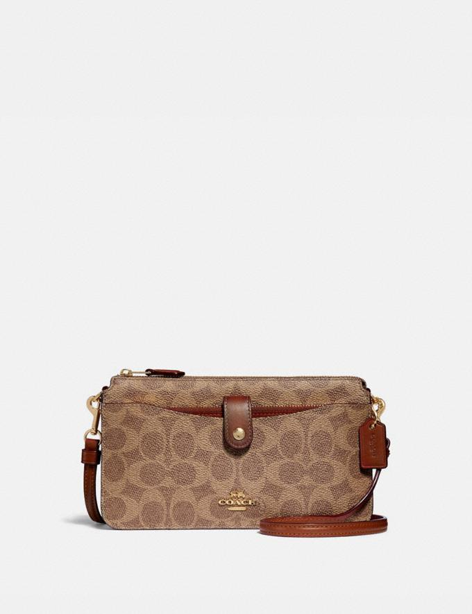 Coach Noa Pop-Up Messenger in Colorblock Signature Canvas Tan/Rust/Brass Women Accessories