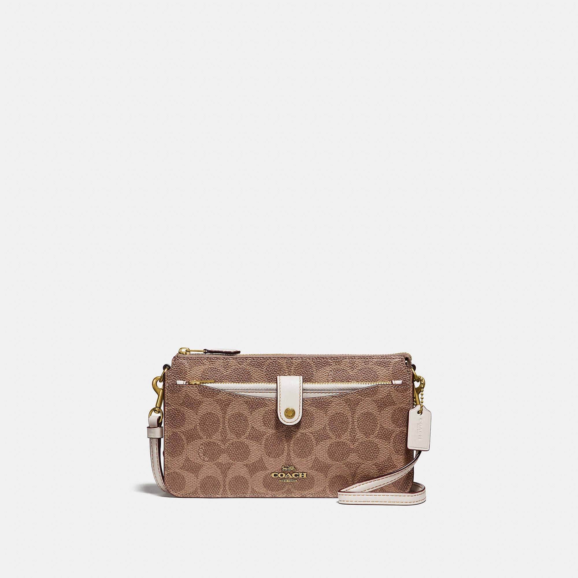 Coach Pop-Up Messenger In Colorblock Signature Coated Canvas - Women'S In  Tan/Chalk