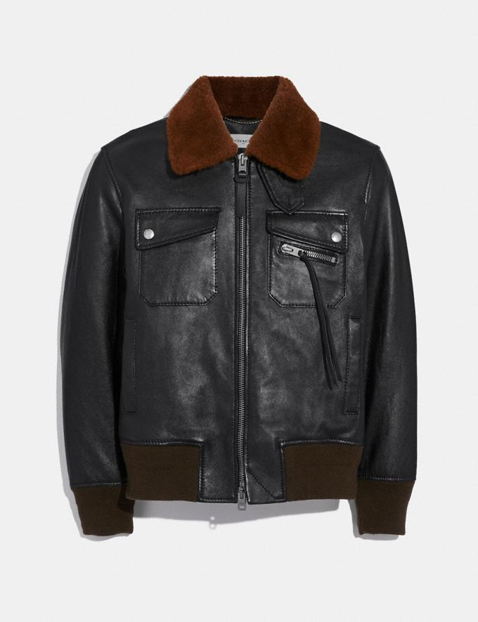 Coach Bomber With Shearling Collar Black/Toffee