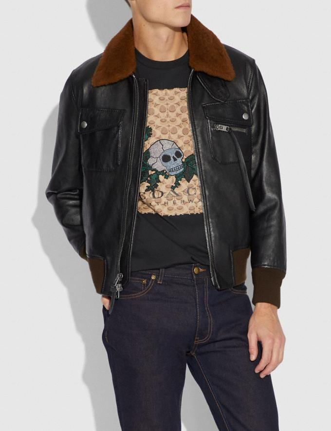 Coach Bomber With Shearling Collar Black/Toffee  Alternate View 1