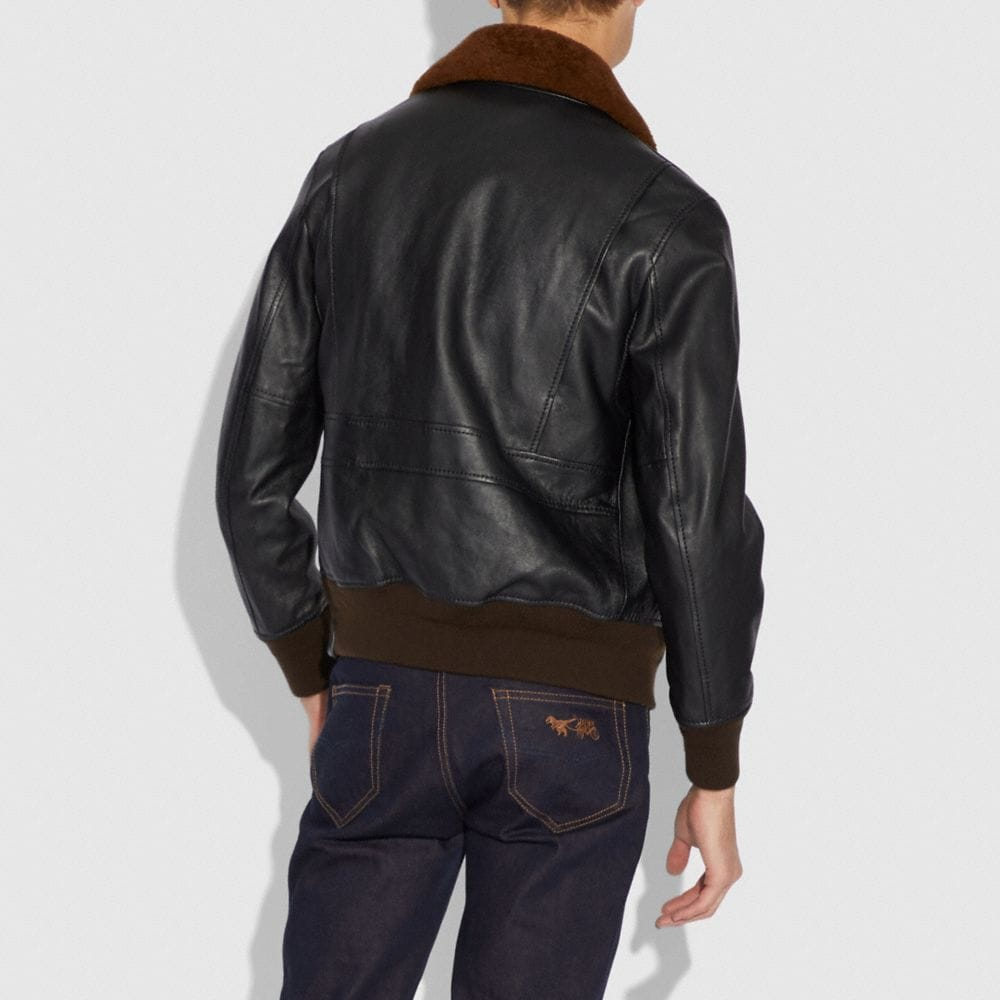 Coach Bomber With Shearling Collar Alternate View 2