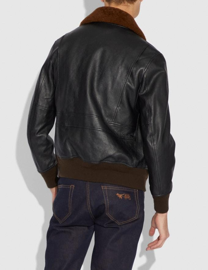 Coach Bomber With Shearling Collar Black/Toffee  Alternate View 2