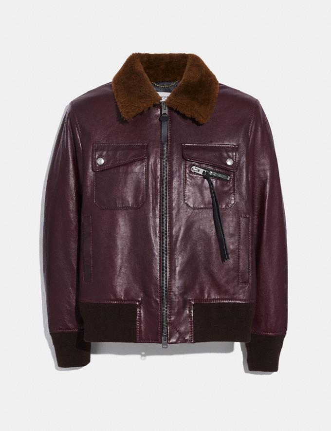 Coach Bomber With Shearling Collar Burgundy/Brown