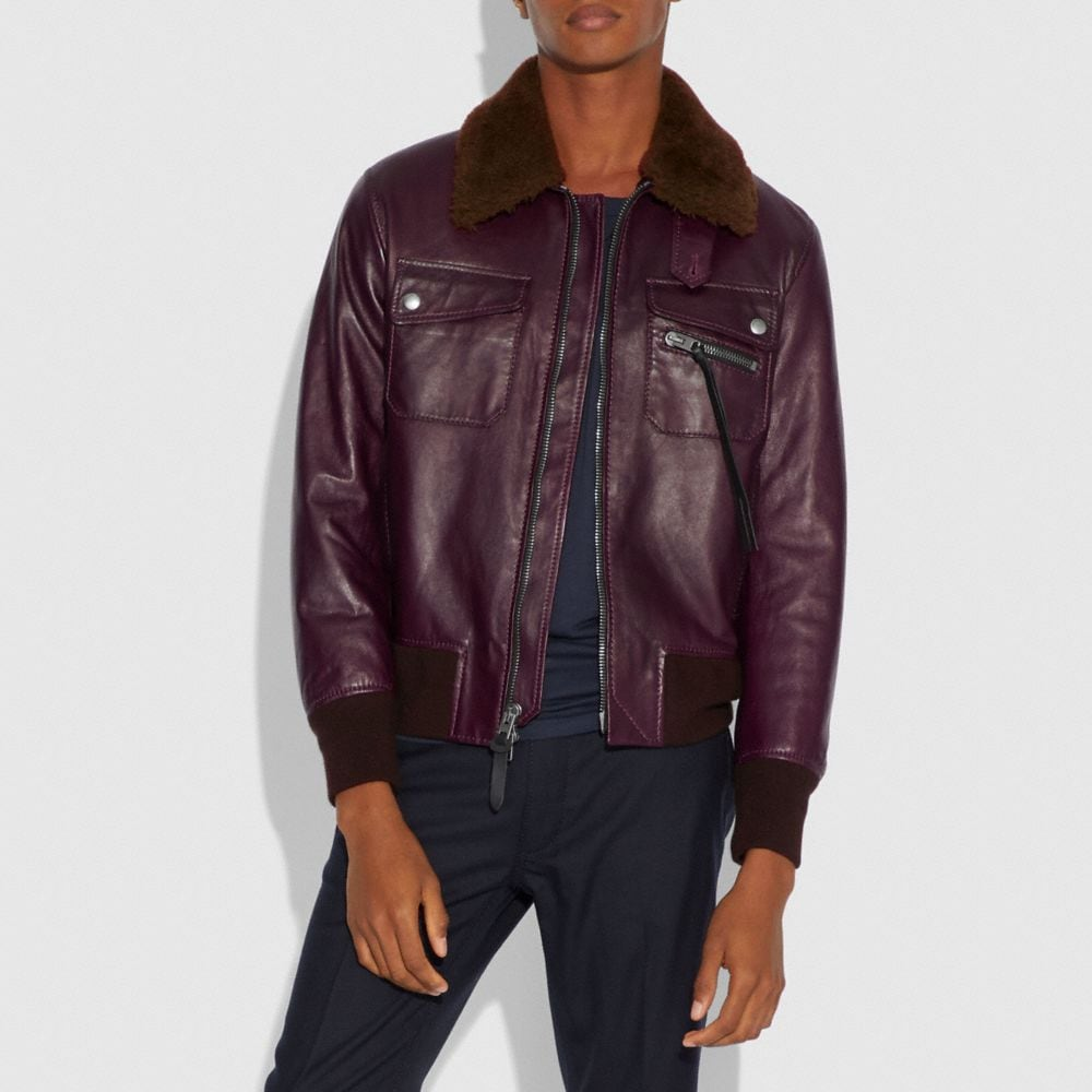 Coach Bomber With Shearling Collar Alternate View 1