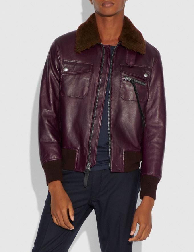 Coach Bomber With Shearling Collar Burgundy/Brown  Alternate View 1