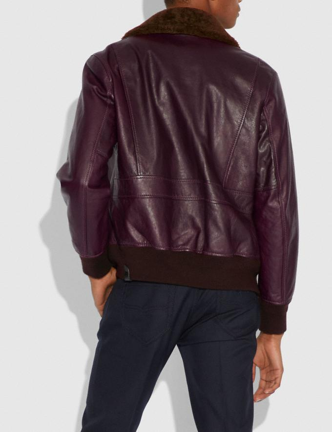 Coach Bomber With Shearling Collar Burgundy/Brown  Alternate View 2