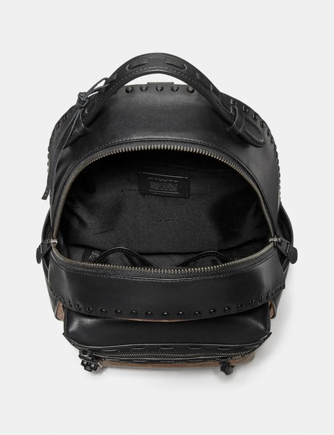 Coach Campus Backpack in Signature Canvas With Whipstitch Tan Black/Black Copper Women Bags Backpacks Alternate View 2