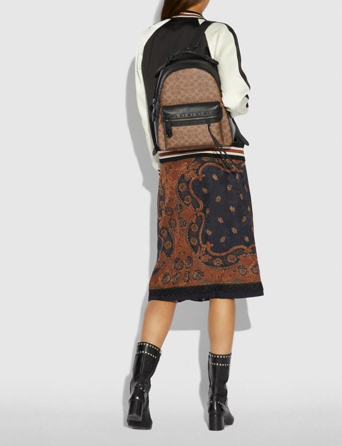 Coach Campus Backpack in Signature Canvas With Whipstitch Tan Black/Black Copper Women Bags Backpacks Alternate View 3