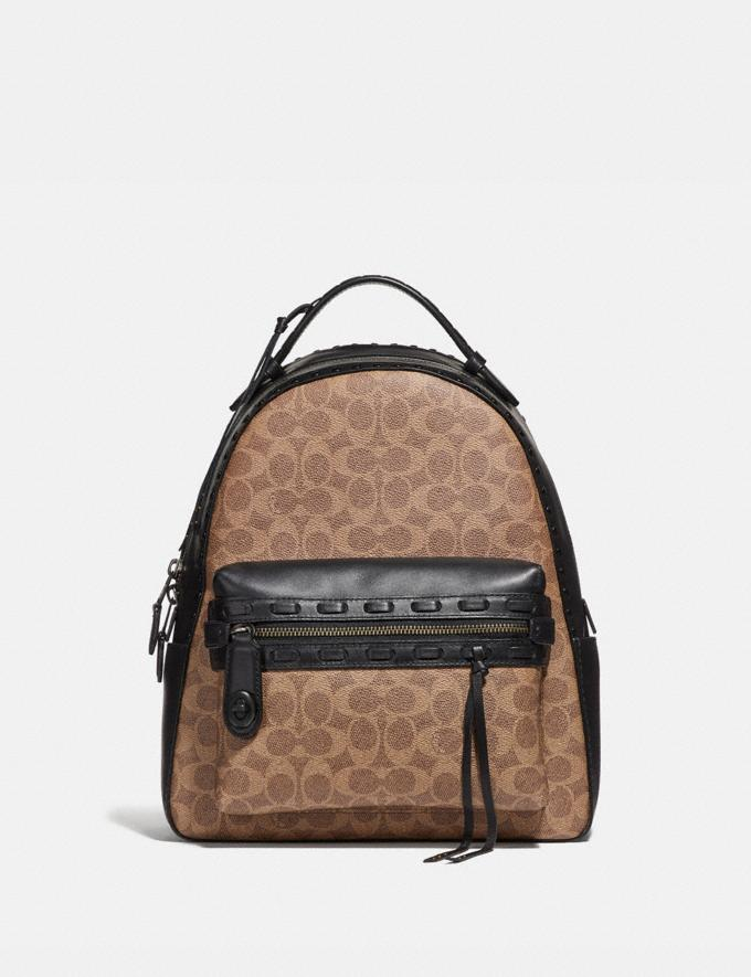 6053472f3f6 Coach Campus Backpack in Signature Canvas With Whipstitch Tan Black/Black  Copper Women Bags Backpacks