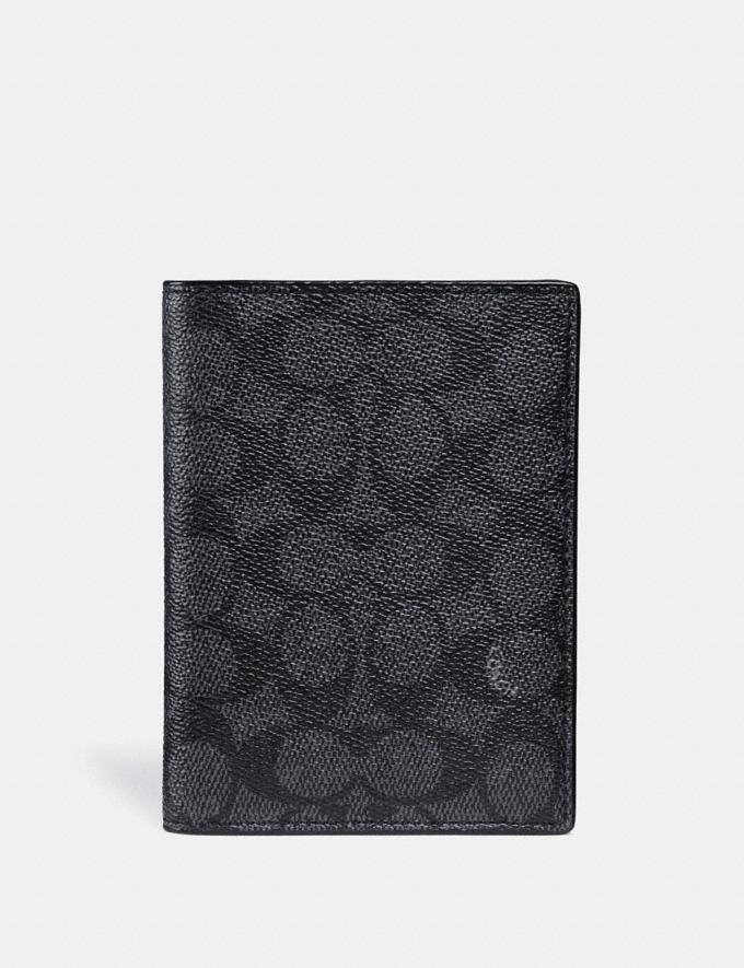 Coach Passport Case in Signature Canvas Charcoal Men Accessories Tech & Travel