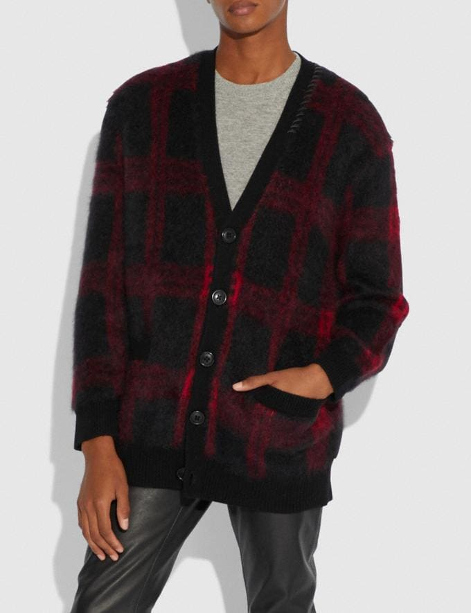 Coach Mohair Cardigan Black/Red  Alternate View 1