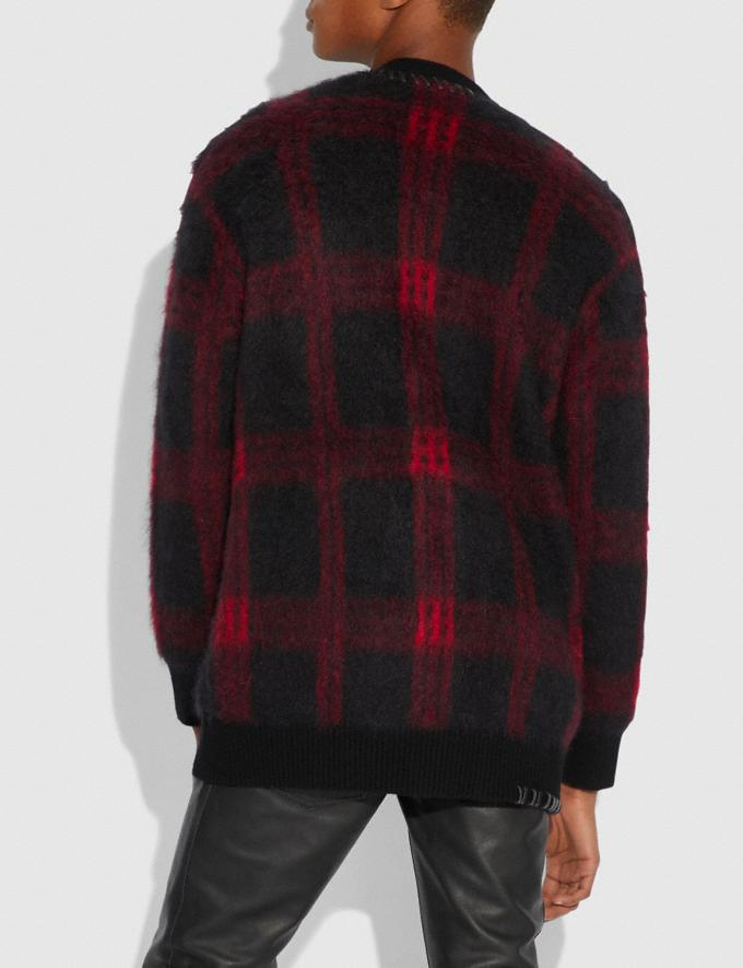 Coach Mohair Cardigan Black/Red  Alternate View 2