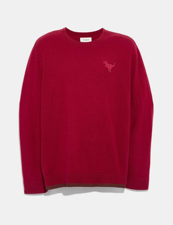 Coach Rexy Patch Crewneck Sweater Red