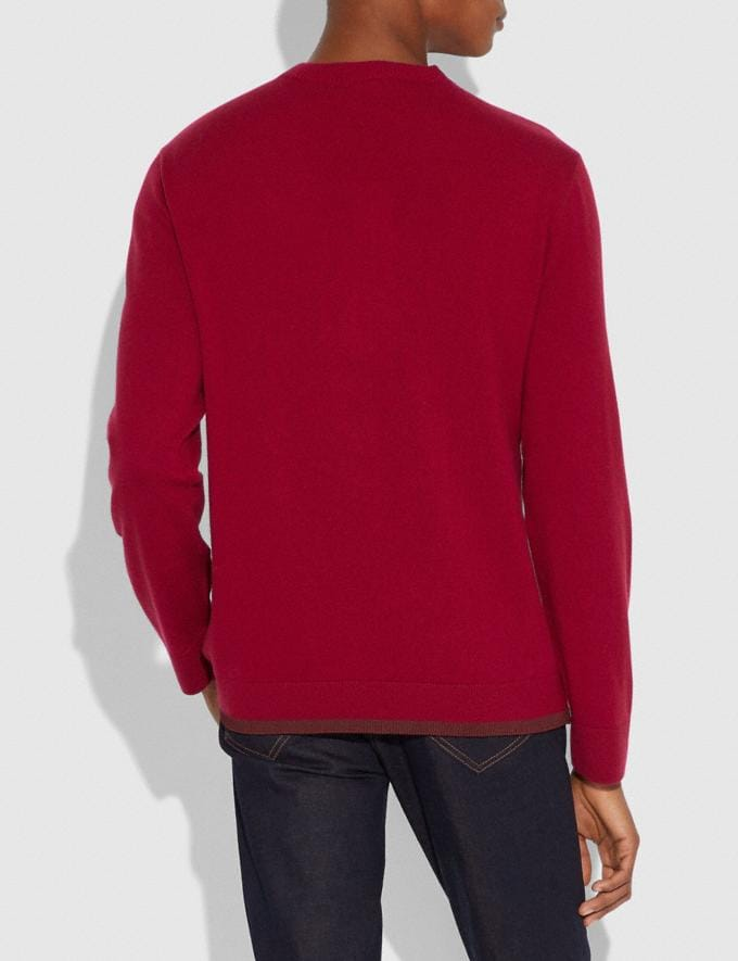 Coach Rexy Patch Crewneck Sweater Red  Alternate View 2