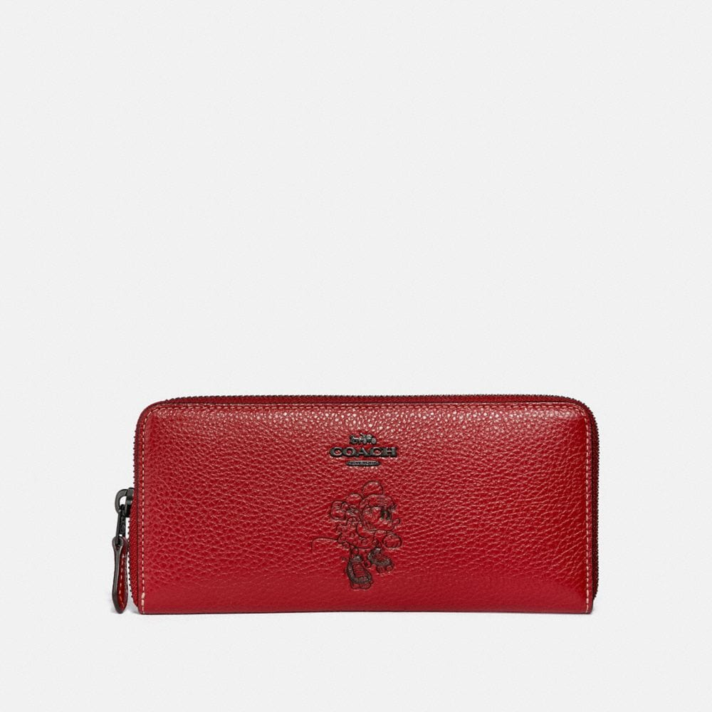 Coach Boxed Minnie Mouse Slim Accordion Zip Wallet With Motif