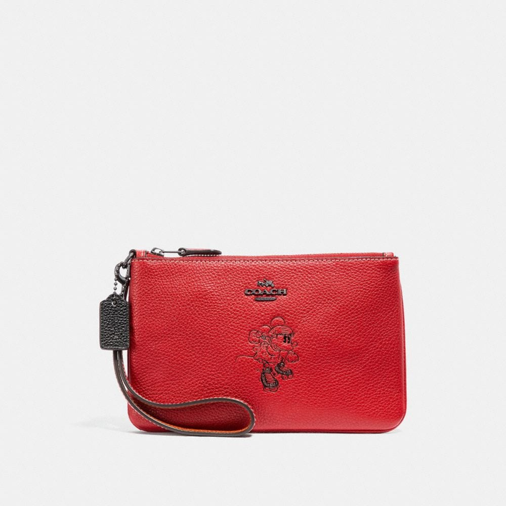 Coach Boxed Minnie Mouse Small Wristlet With Motif