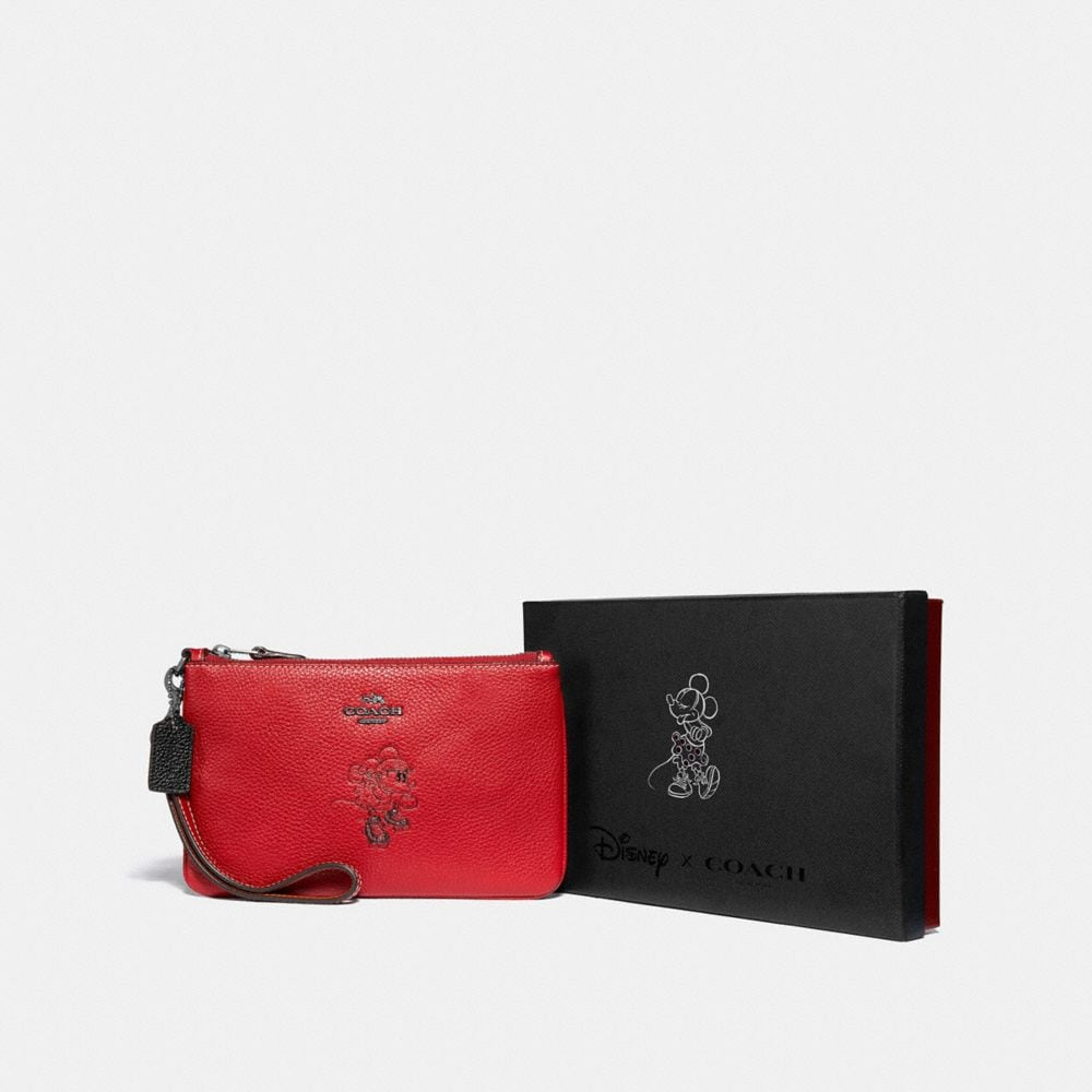 Coach Boxed Minnie Mouse Small Wristlet With Motif Alternate View 1