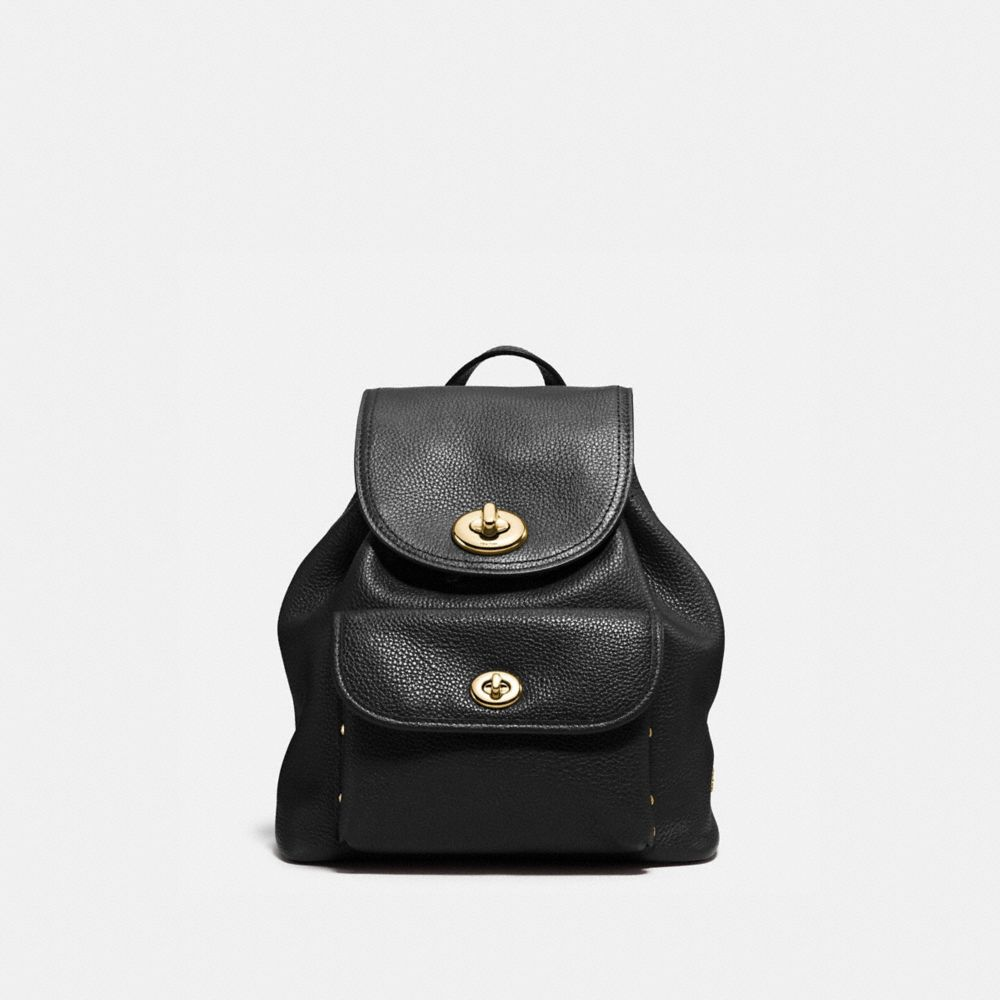 MINI TURNLOCK RUCKSACK IN PEBBLE LEATHER