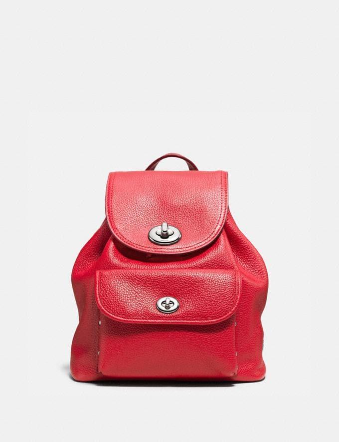 Coach Mini Turnlock Rucksack Silver/True Red Women Bags Backpacks