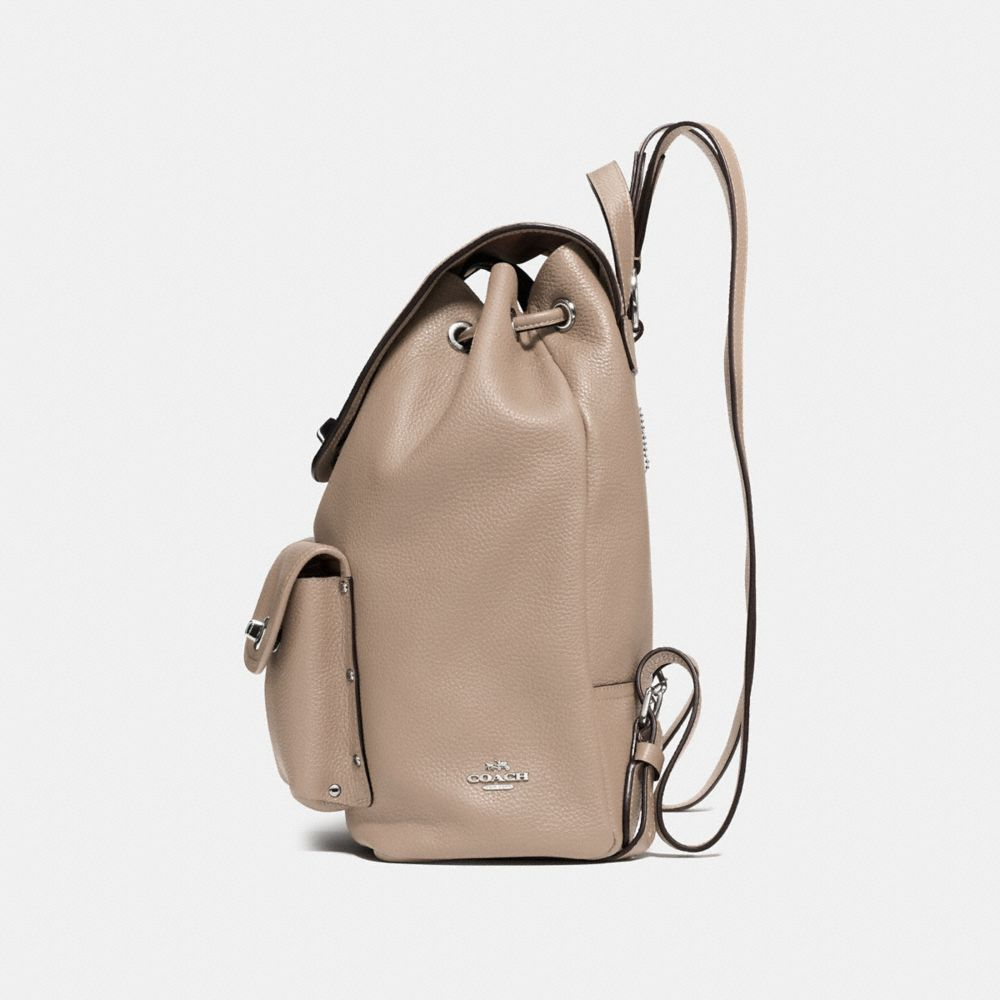 Coach Turnlock Rucksack in Polished Pebble Leather Alternate View 1