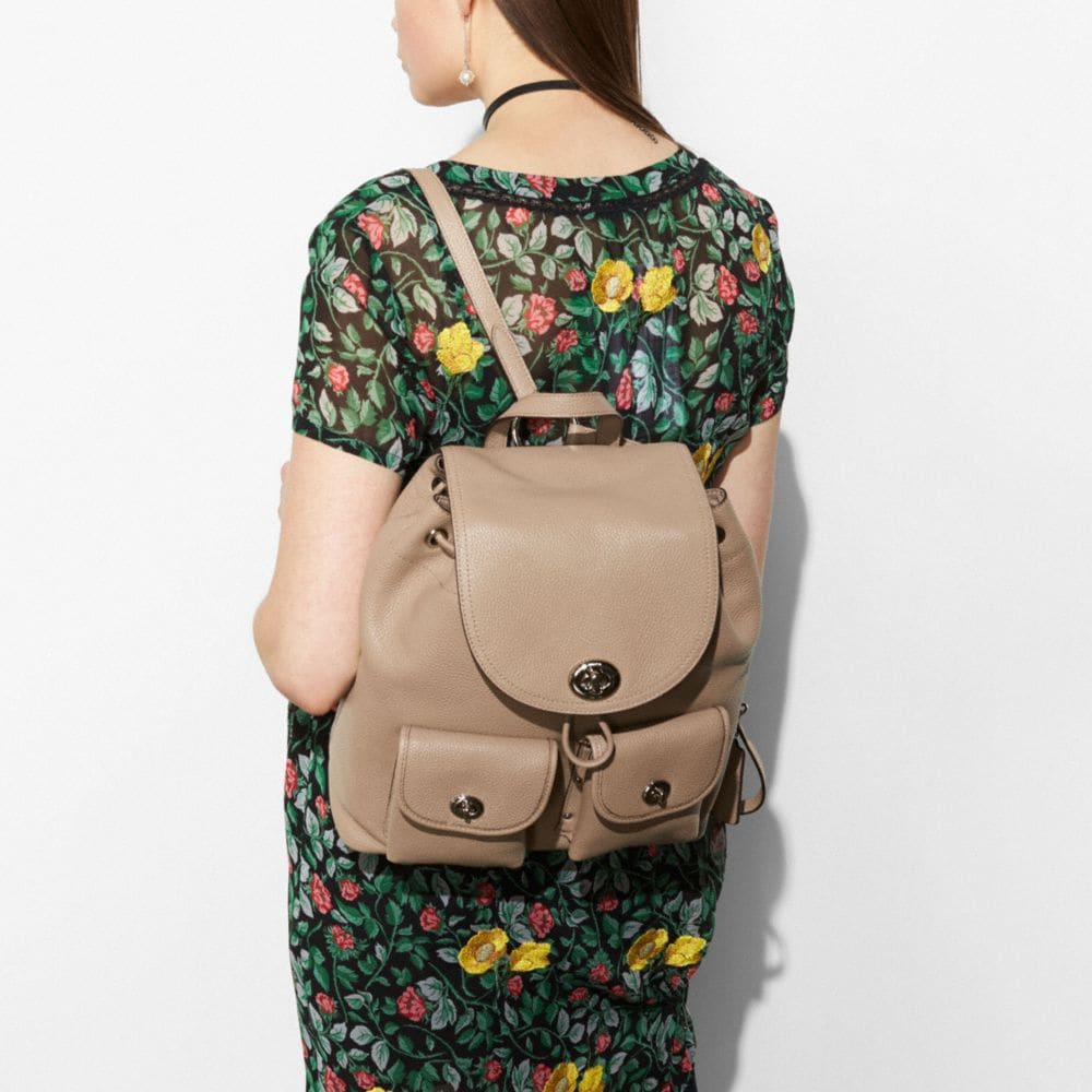 Coach Turnlock Rucksack in Polished Pebble Leather Alternate View 3