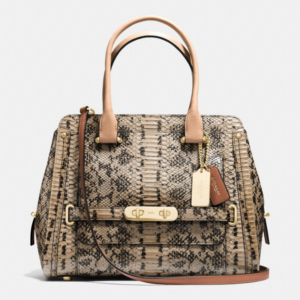 COACH SWAGGER FRAME SATCHEL IN COLORBLOCK EXOTIC EMBOSSED LEATHER