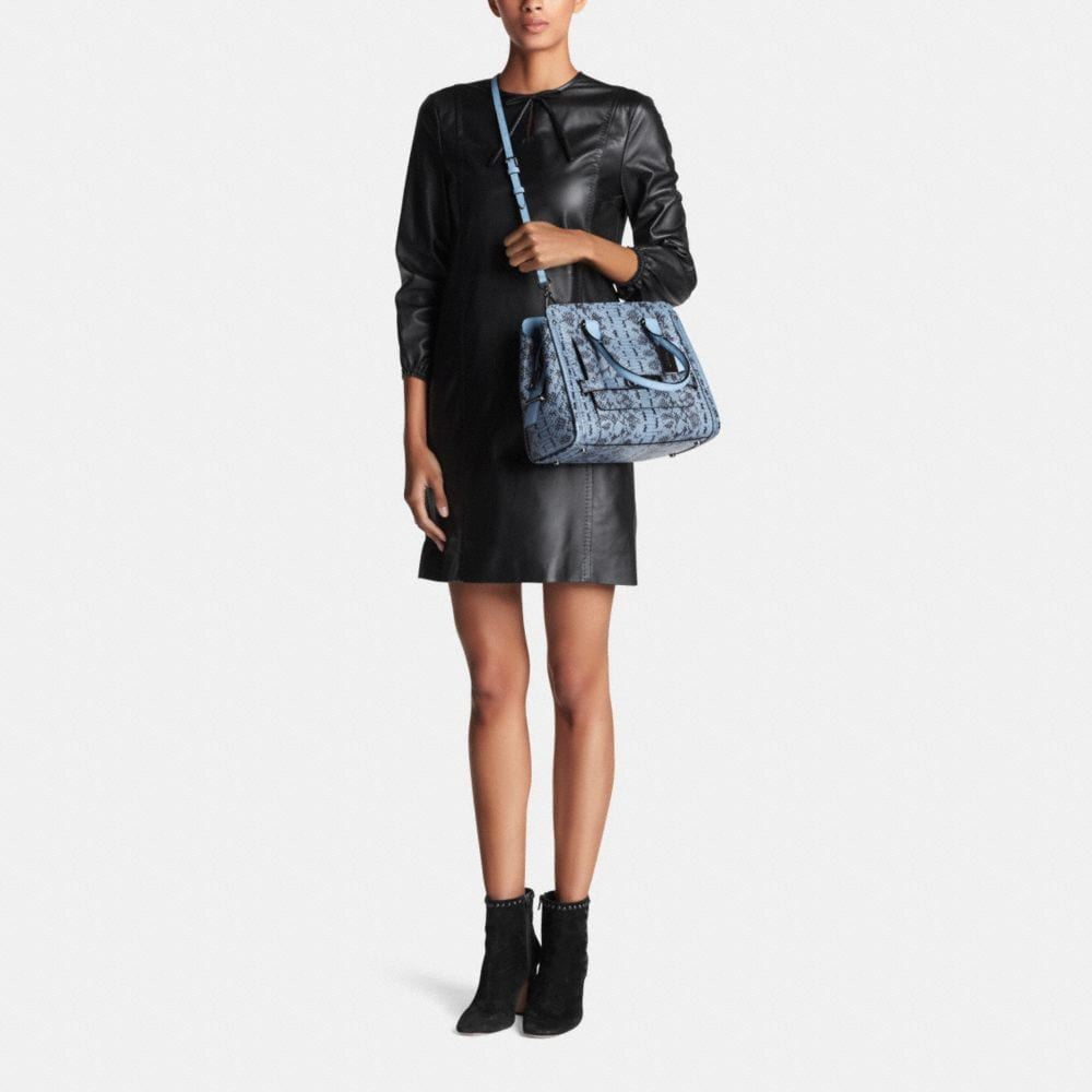 Coach Swagger Frame Satchel in Colorblock Exotic Embossed Leather - Alternate View M