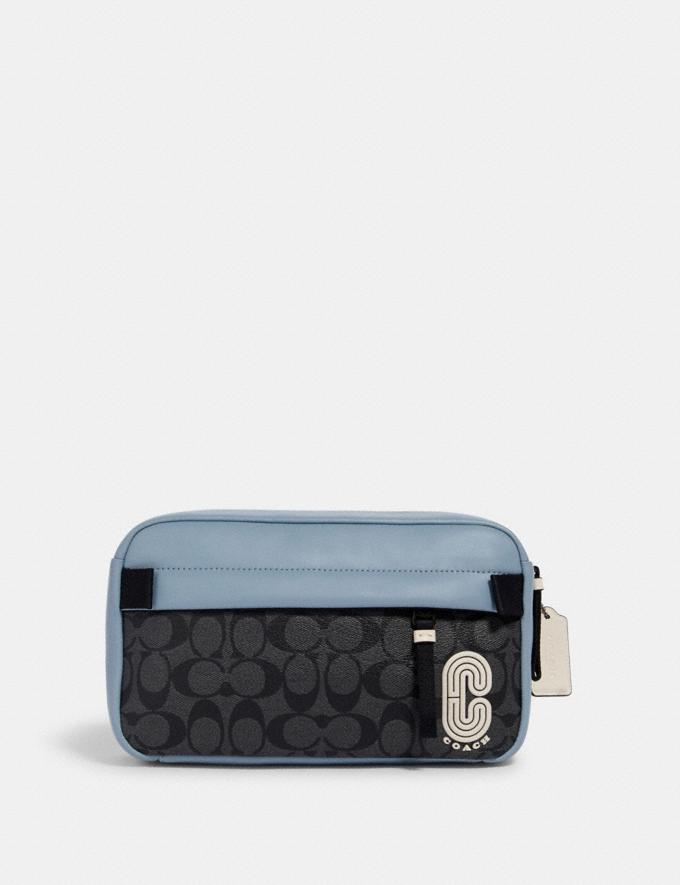 Coach Edge Belt Bag in Colorblock Signature Canvas With Coach Patch Qb/Pebble Blue Charcoal Clearance New To Clearance