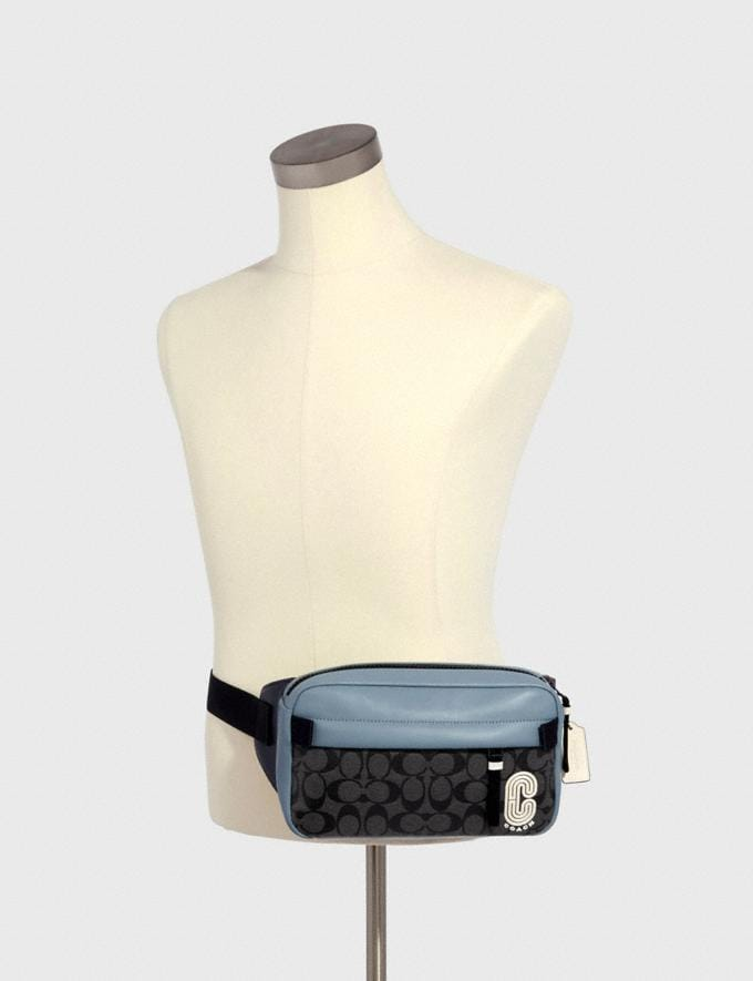 Coach Edge Belt Bag in Colorblock Signature Canvas With Coach Patch Qb/Pebble Blue Charcoal Clearance New To Clearance Alternate View 2