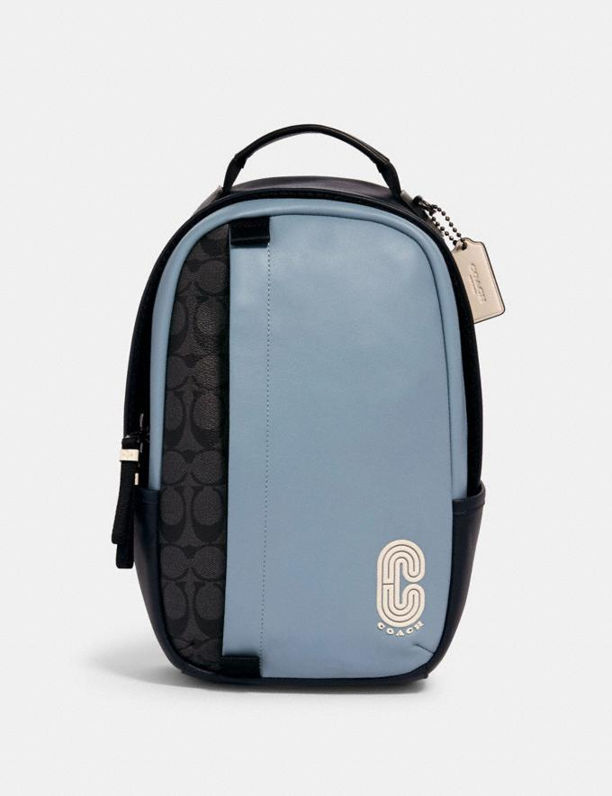 Coach Edge Pack in Colorblock Signature Canvas With Coach Patch Qb/Pebble Blue Charcoal
