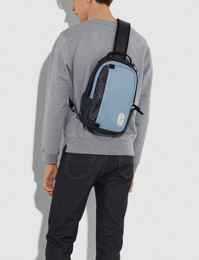 Coach Edge Pack in Colorblock Signature Canvas With Coach Patch Qb/Pebble Blue Charcoal  Alternate View 3