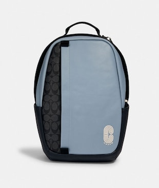 EDGE BACKPACK IN COLORBLOCK SIGNATURE CANVAS WITH COACH PATCH