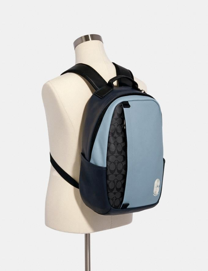 Coach Edge Backpack in Colorblock Signature Canvas With Coach Patch Qb/Pebble Blue Charcoal  Alternate View 2