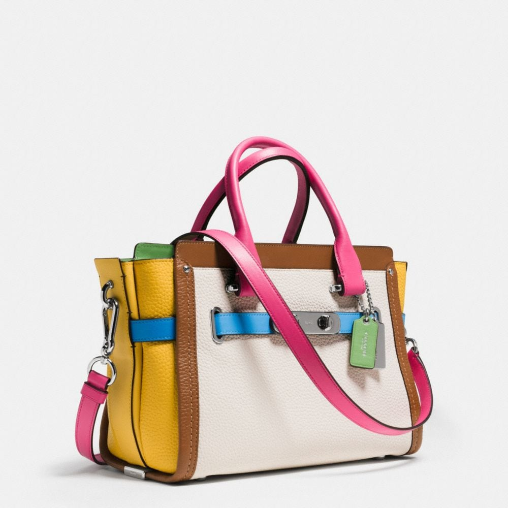 Coach Swagger 27 in Rainbow Colorblock Leather - Alternate View A2