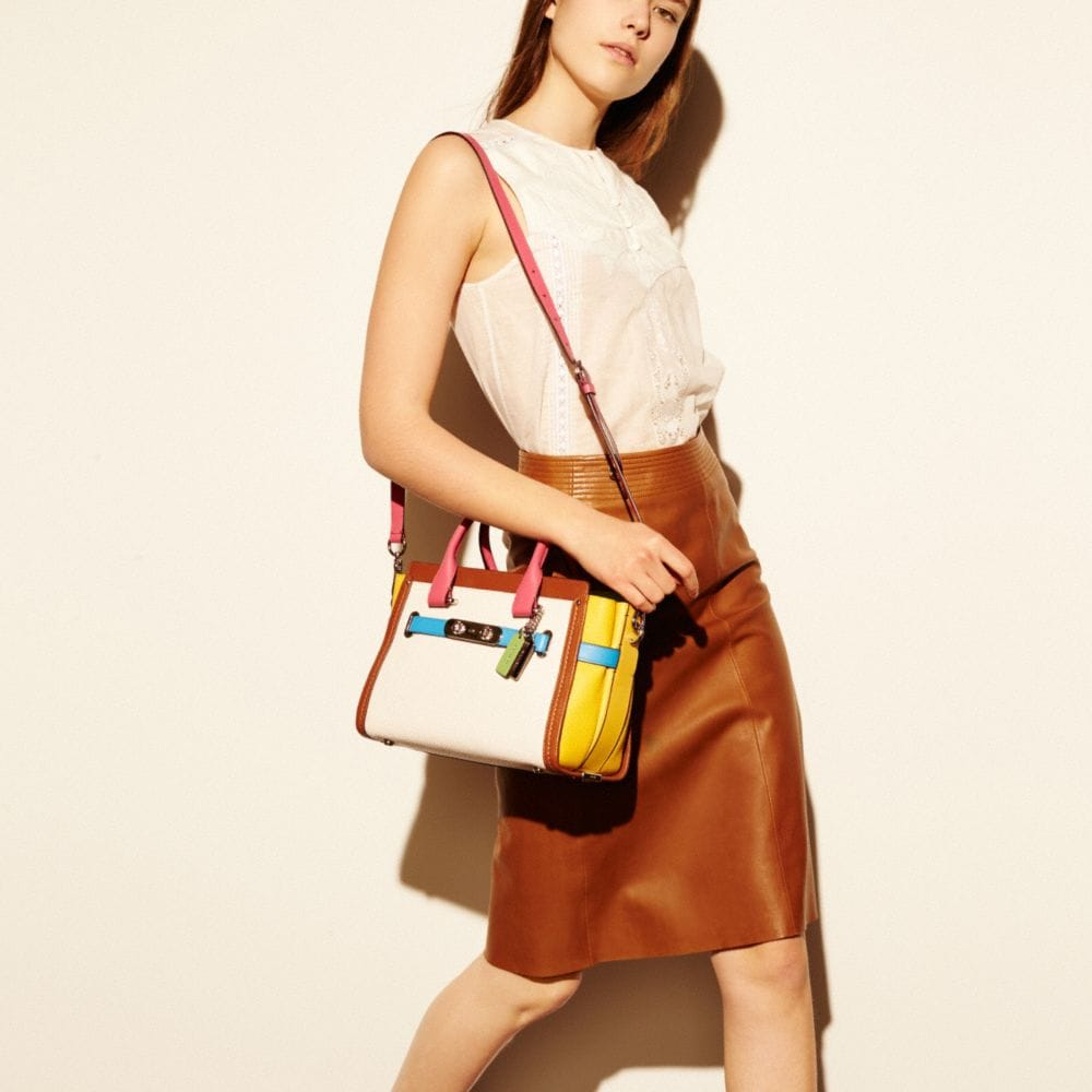 Coach Swagger 27 in Rainbow Colorblock Leather - Alternate View A4