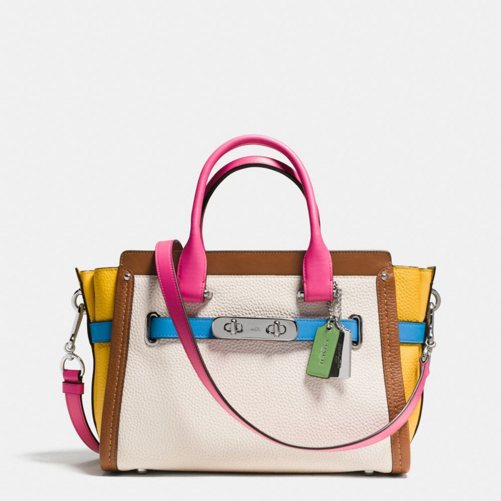 designer coach bags z1dh  Coach Swagger 27 Carryall in Rainbow Colorblock Leather