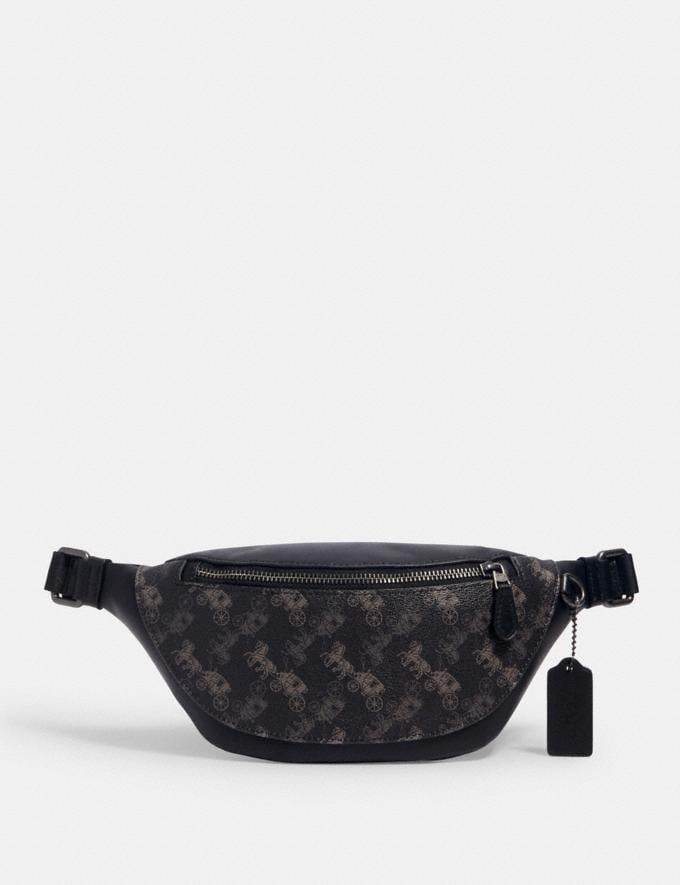 Coach Warren Mini Belt Bag With Horse and Carriage Print Qb/Black Multi Men