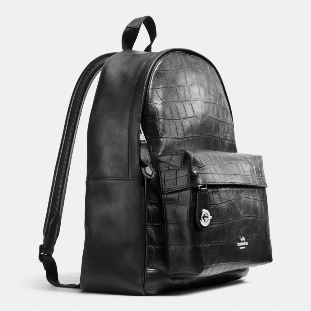 CAMPUS BACKPACK IN CROC EMBOSSED LEATHER - Alternate View A2