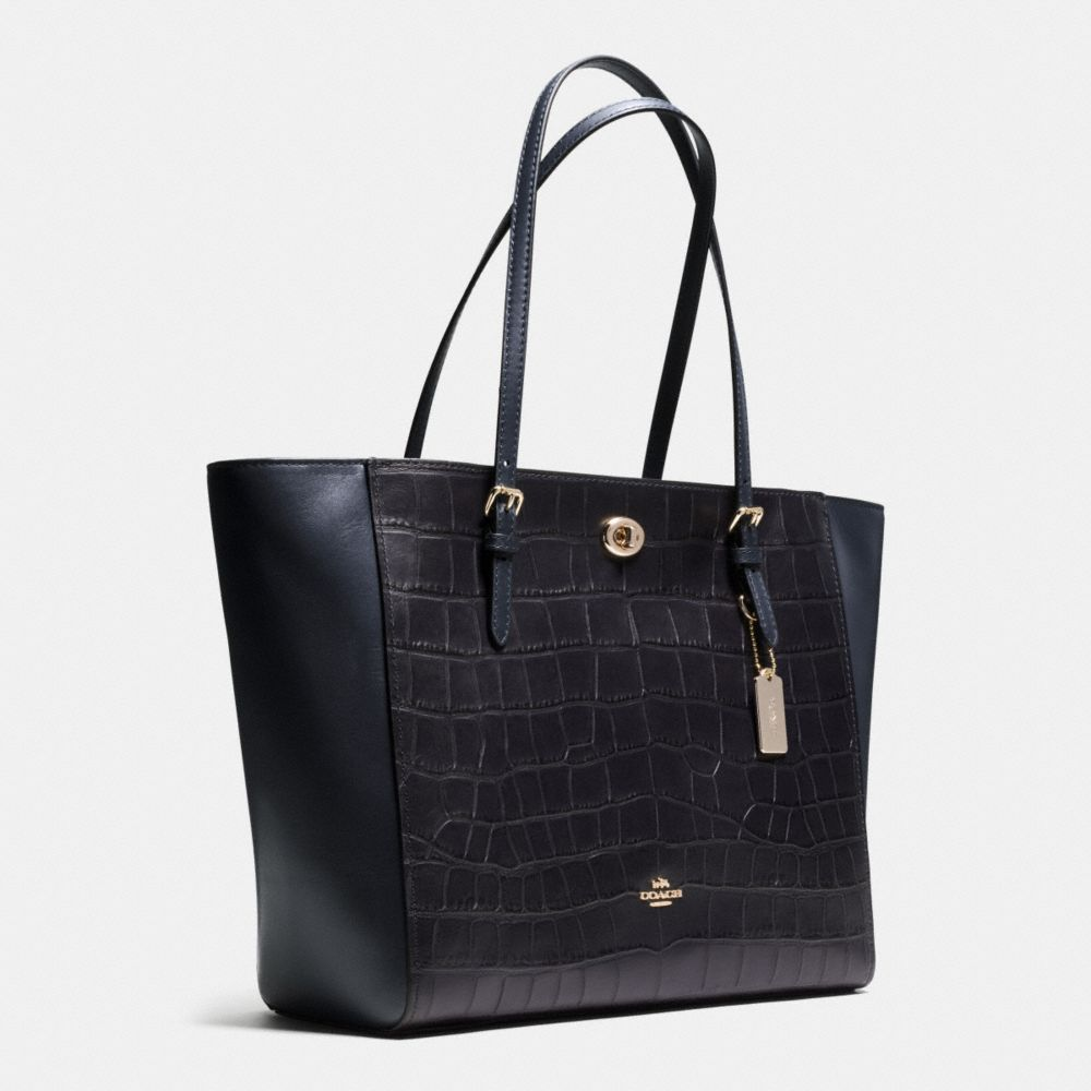 Turnlock Tote in Croc Embossed Leather - Alternate View A2