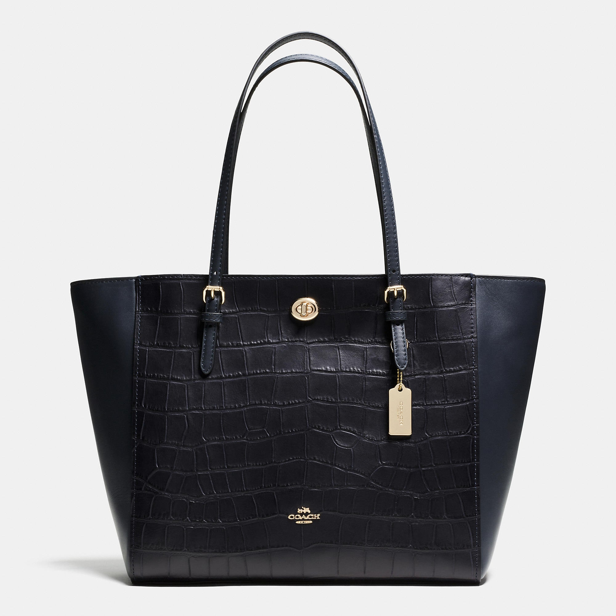 Coach Turnlock Tote In Croc Embossed Leather