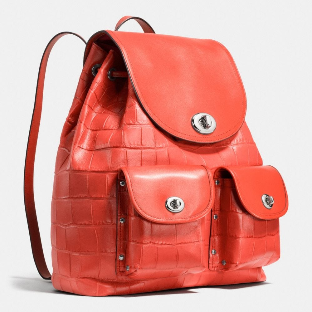 Turnlock Rucksack in Croc Embossed Leather - Autres affichages A2