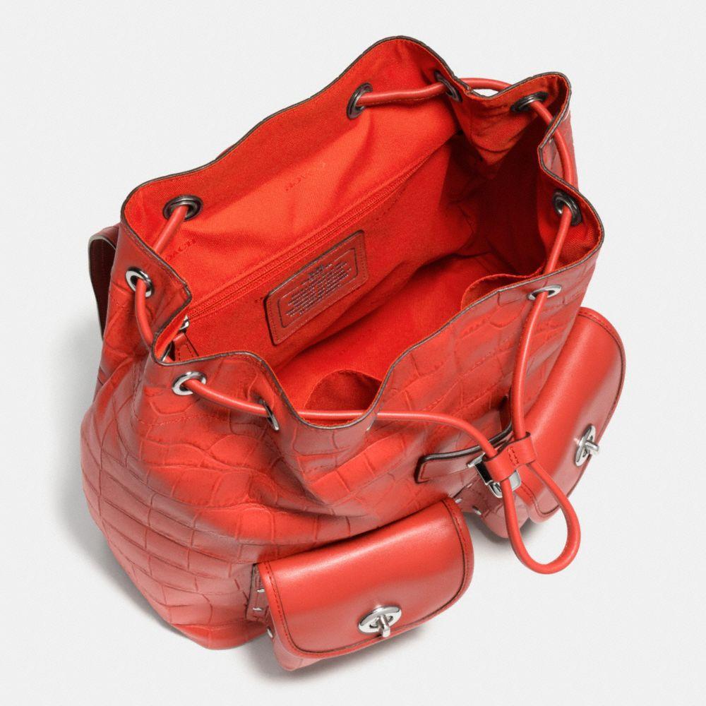 Turnlock Rucksack in Croc Embossed Leather - Alternate View A3
