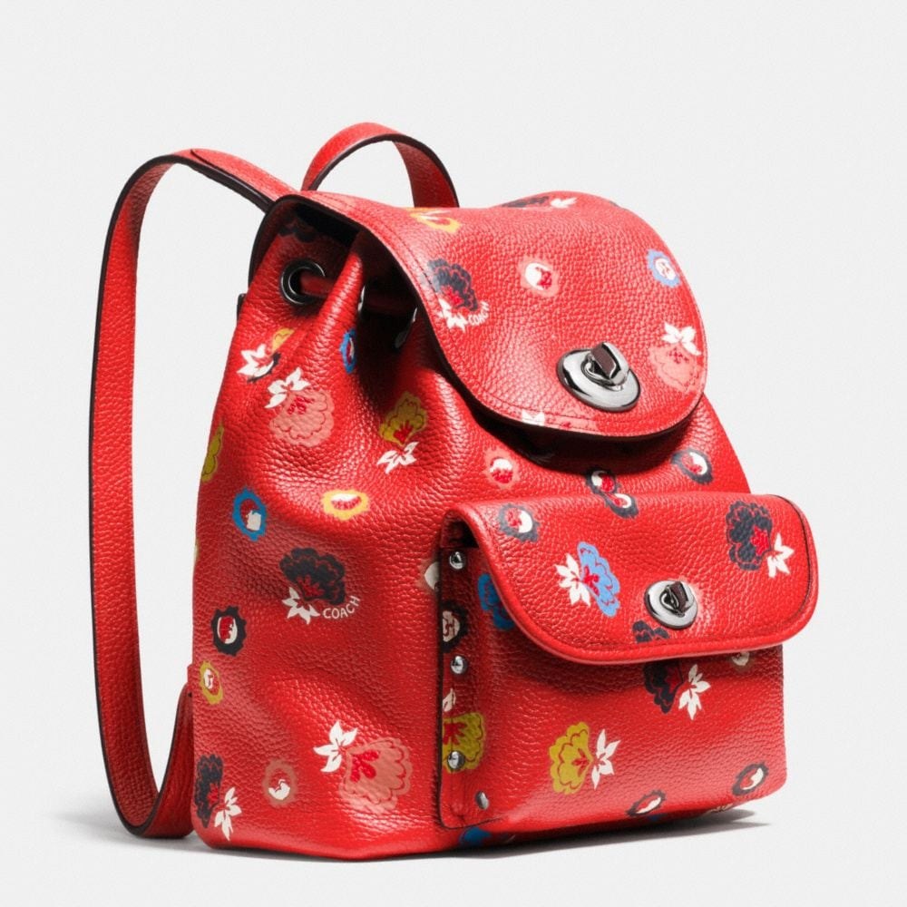 Mini Turnlock Rucksack in Floral Print Leather - Alternate View A2