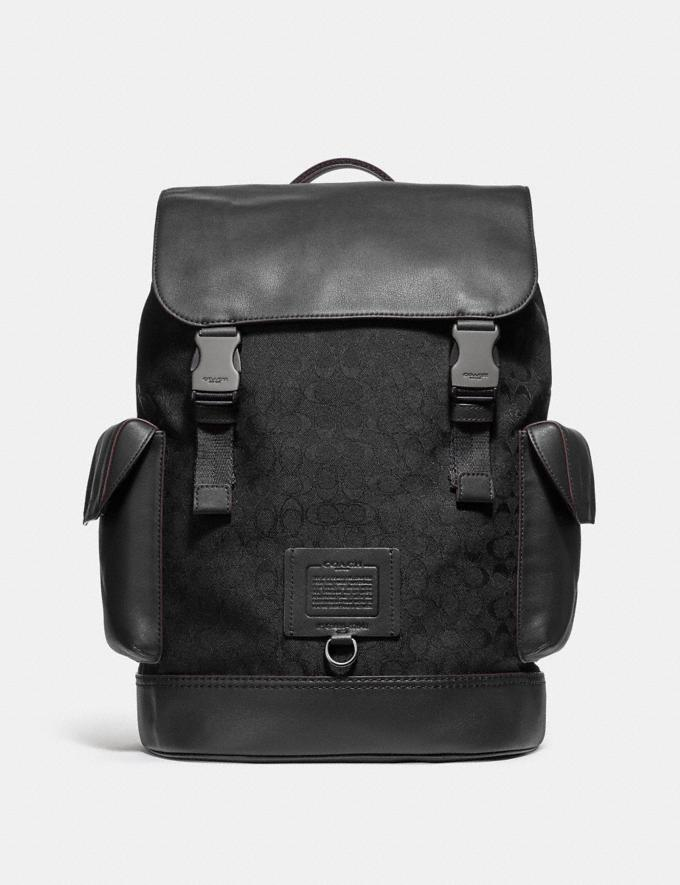 Coach Rivington Backpack in Signature Jacquard Black/Black Copper Finish Men Bags Backpacks
