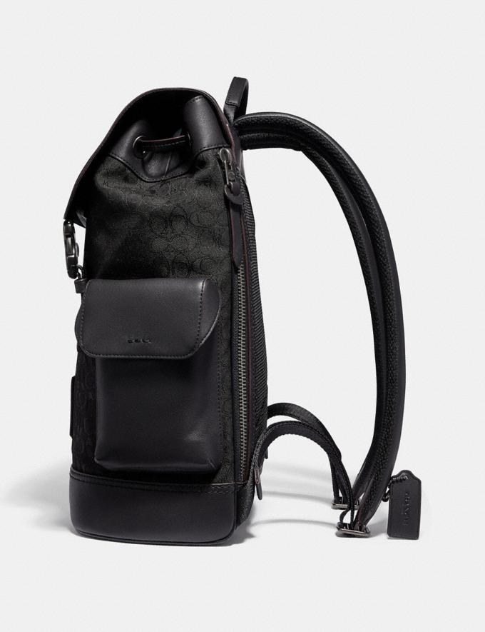 Coach Rivington Backpack in Signature Jacquard Black/Black Copper Finish Men Bags Backpacks Alternate View 1