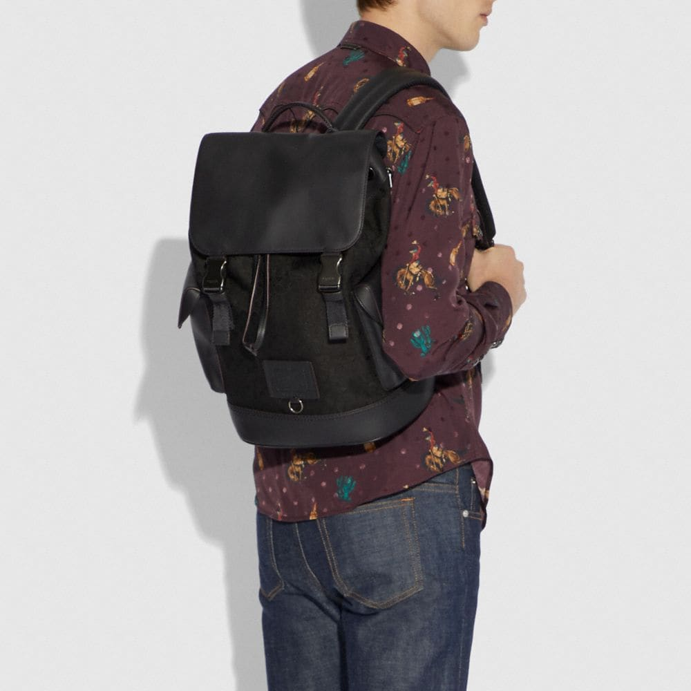 Coach Rivington Backpack in Signature Jacquard Alternate View 3